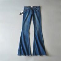Flared Jeans Women Retro Bell Bottom Jeans Female Wide Leg Denim Pants Trousers