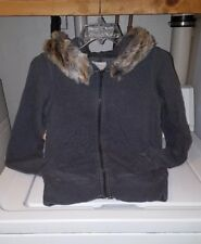 AERIE Dark Gray Full Zip Faux Fur Hoodie XXS