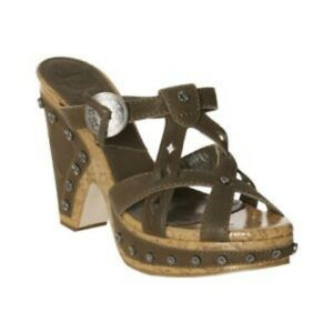 NIB CHRISTIAN DIOR GREEN WESTERN WEDGES SHOES 38