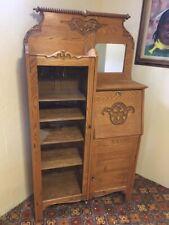Antique Oak Secretary Drop Down Desk Glass Bookcase/Curio Cabinet Excellent Cond