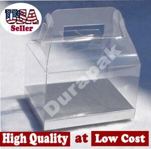 "24 PCS 4x3x2-1/2"" Wedding Party Favor Gable Handle Clear PVC Box w/ Silver Card"
