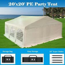 20' x 20' PE Party Tent - Heavy Duty Carport Canopy Car Wedding Shelter - White
