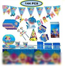 Shark Party for baby Supplies 🦈144 Pcs 🦈 Birthday Decoration Complete Set
