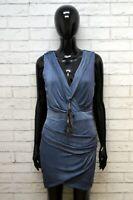 ELISABETTA FRANCHI Donna 44 Vestito Abito Tubino Stretto Maglia Dress Women Blu