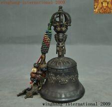 Tibetan Buddhism Bronze Tara Buddha head 8 treasures symbol Exorcism Bell chung