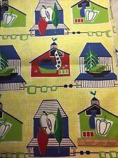 Vintage Cotton Barkcloth Era Curtain Decorating Fabric 50s Retro Kitchen 36w 1yd