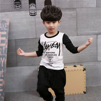 Kids Boys Letters Print Long Sleeve Cotton Casual White & Black Tops T-shirt New