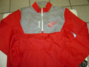 "NEW MENS NHL REEBOK CENTER ICE ""DETROIT RED WINGS"" WINDBREAKER JACKET SIZE S"