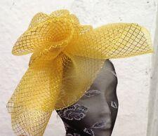 GOLD Fascinator con modisteria Burlesque Cappello da sposa capelli pezzo Ascot Race da sposa