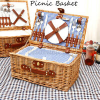US 2 Person Insulated Picnic Basket Set Wicker Basket Camping Outdoor Willow Bag