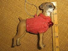 Cannon Falls Black Brown Boxer Dog in Red Sweater w Bell Christmas Tree Ornament