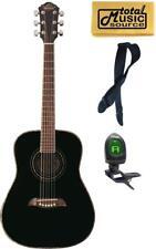 Oscar Schmidt 3/4 Size Black Acoustic Guitar, FREE STRAP, TUNER & POLISH CLOTH,