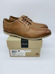 Clarks Men's Raharto Plain-Toe Oxfords Dark Tan Leather US 10.5W / EUR 44