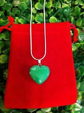 Green Jade Heart Crystal Healing Gemstone Sterling Silver Pendant Necklace