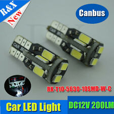 2 x 10 SMD NO ERROR FREE CANBUS W5W T10 501 LED SIDE LIGHT BULB White DC12V