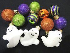 "(12) Halloween Mini Ghost Ball Plastic Glitter Ornaments 1.5"" Decorations Decor"
