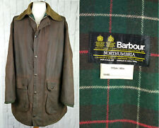 "Barbour Northumbria Waxed Jacket 46"" - Rare Two Crests Vintage 1980s - Brown"