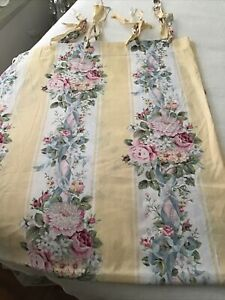 Croscill Princess Roses Fabric curtain shabby Pink Roses Blue Ribbon yellow