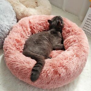 Indoor Dog House Bed Pet Round Kennel Soft Small Warm Cushion Winter Sofa Plush
