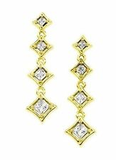 0.72 ct 4 stone Journey Earrings Brilliant Princess cut Diamonds 14k Yellow Gold