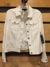 White Denim Jacket  BACCINI Apparel Div. Cotton Spandex Jewel Button Front  NWT