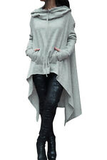 New Grey Drawstring Irregular Oversize Hoodie Cardigan Size UK 8-10