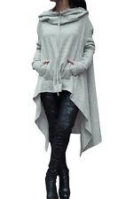 New Grey Drawstring Irregular Oversize Hoodie Cardigan Size UK 8-10