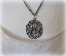 Vintage CORO Pendant Necklace Night and Castle Motif
