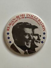 "1981 President Ronald Reagan & VP George Bush Inauguration Day 3"" Button Pin"