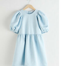 & other stories puff sleeve jacquard mini gathered light blue dress