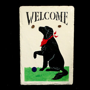 New GSW SLATE Black Lab w/ Red Bandana Welcome Plaque 12 x 8 Leather Hang Cord