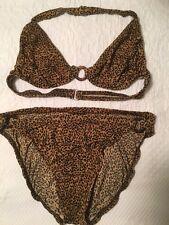 International Concepts brown/black leopard print 2 piece bikini swimsuit size 6