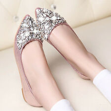 Fahion Women Ballet Flats Pointed Rhinestone Flat Loafer Casual Slipper Shoes