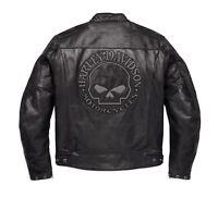 Harley-Davidson Reflective Skull Leder Jacke Gr. 3XL Herren Motorrad Lederjacke