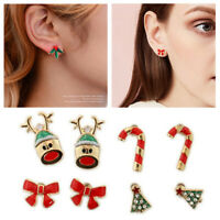 8Pairs/set Christmas Tree Snowman Deer Bell Ear Stud Xmas Ladies Cahrm Jewelry