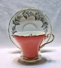 Aynsley Tea Cup & Saucer Set, Pink Corset Shape w/ Gray Leaves, Gift Idea