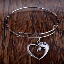 Silver Horse Lovers Heart Charm Bangle Bracelet w/Free Jewelry Box and Shipping