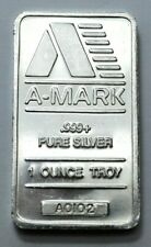 """1 OZ .999 + Silver BAR VINTAGE """"A-MARK"""" WITH SERIAL #, LOW MINTAGE,  No Reserve!"""
