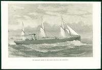 1874 Antique Print  - STEAM SHIP Angelo Wilson Line Hull Christiania    (51)