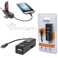 Lettore schede memorie+Hub USB 3 Porte OTG Manhattan per Sony Xperia Z Z1 Z2 Z3
