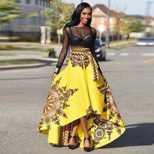 African Women Printed Summer Boho Long Dress Beach Evening Party Maxi Skirt