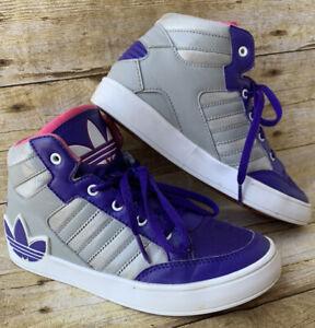 Adidas Hard Court Hi Big Trefoil Size 2 Purple Pink Gray Kids Girls