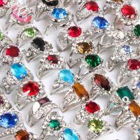 Großhandel 40x Top Damen zirkon edelstein Gemischt Strass Kristall Ringe silber