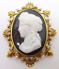 14k High Relief Black & White Cameo Pin / Pendant (#C3418)