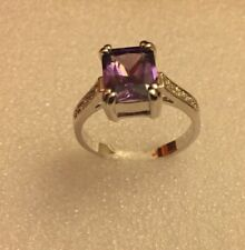 Purple Amethyst Women 10KT White Gold Filled Ring Size 9