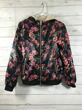 Jessica Simpson Girls Floral Reversible Bomber Jacket Black Floral Size 16