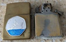 More details for original zippo brass lighter -customised for the sinking of the titanic -used