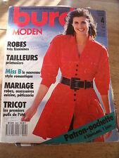 MAGAZINE BURDA MODEN ROBES TAILLEURS PRINTANIERS MARIAGE 04/1988