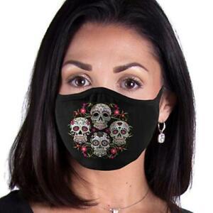 Sugar Skull Floral FACE MASK Reusable Washable Unisex Face Cover USA Seller