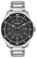 Citizen Eco-Drive Men's Black Dial Silver-Tone Bracelet 45mm Watch AW1588-57E